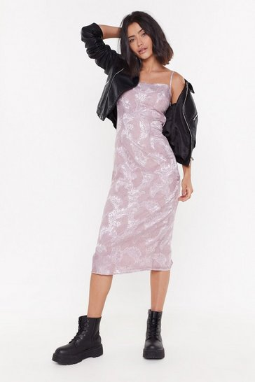 Womens Lilac Strappy Maxi Dress with Jaquard Texture