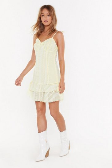 Lemon Lace Do This Again Sometime Ruffle Mini Dress