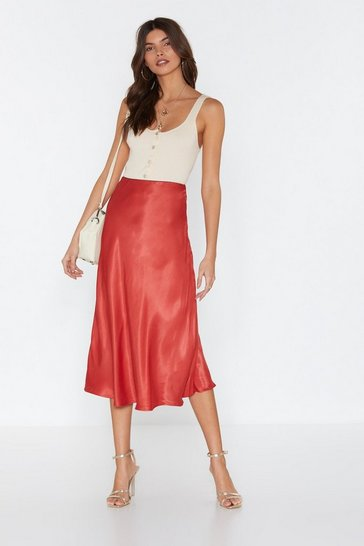 Womens Rust Sleek at the Knees Satin Midi Skirt