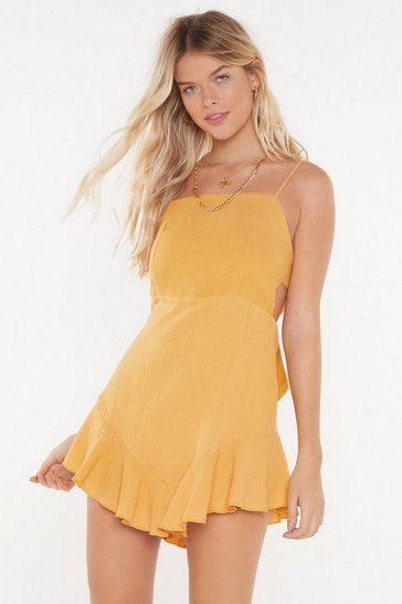 Womens Mustard Up to Bow Good Ruffle Tie Dress