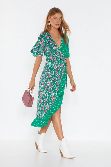 Womens Green Floral Authority Polka Dot Midi Dress