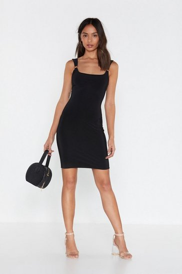 Womens Black O-Ring On the Night Bodycon Dress