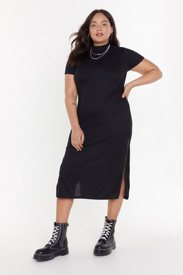 Womens Black Bring Slit On Plus Jersey Maxi Dress