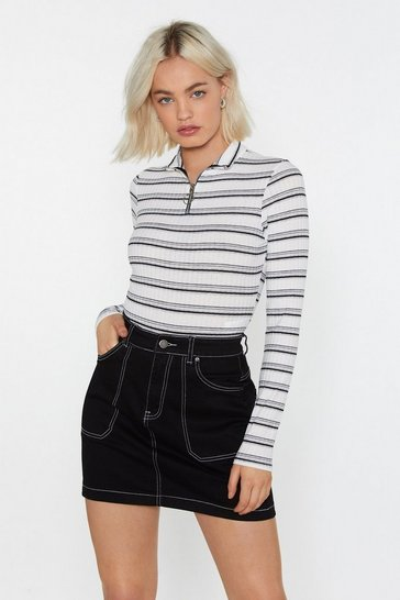 Womens White Stripe Me Up Polo Zip Bodysuit