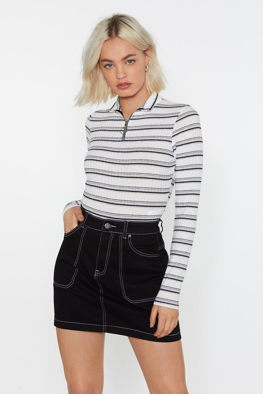 Wide Stripe Ribbed Zip Body by Nasty Gal