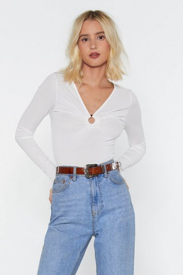 Womens White O-Ring It Loud Ribbed Top