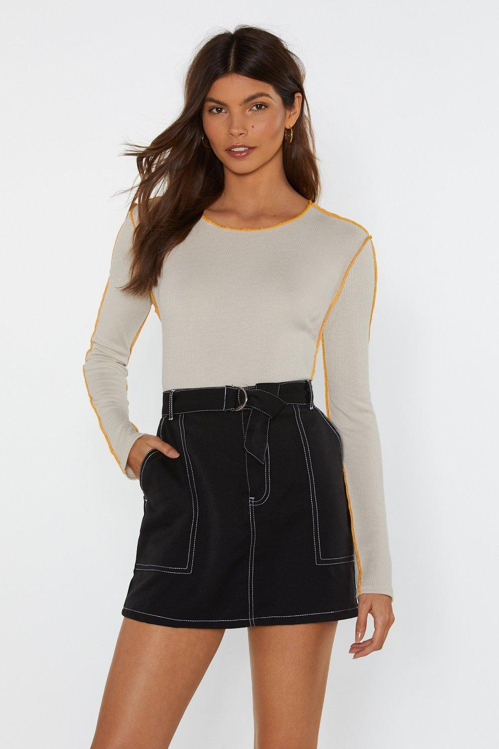 Contrast Overlock Ribbed Body by Nasty Gal