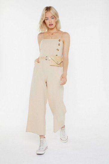 Womens Ecru Button Matter Wide-Leg Jumpsuit