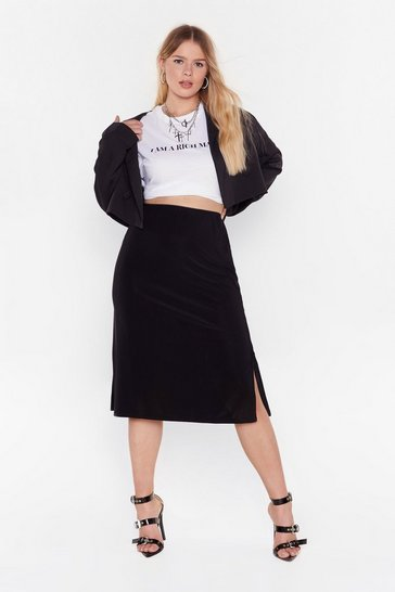 Black Be Side Me Slit Plus Jersey Skirt