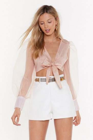 Womens Nude Five Sheer Plan Tie Cropped Top