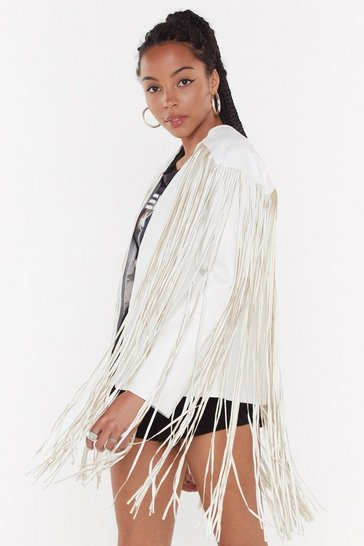 Womens White Fringed Faux Leather Jacket