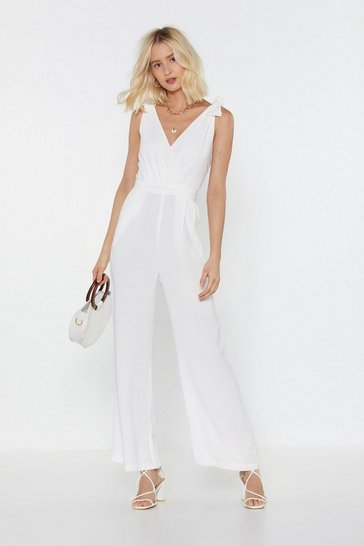 Womens White Cut to the Lace Wide-Leg Jumpsuit
