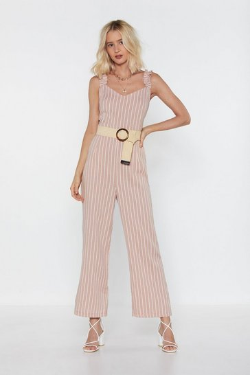 Womens Blush Get Your Facts Straight Striped Ruffle Jumpsuit