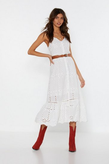Womens White Because I Thread So Broderie Midi Dress
