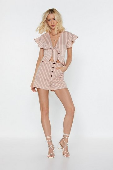 Womens Blush All Stripes of Rad Button Shorts