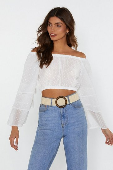 Womens White Tier Me Out Off-the-Shoulder Crop Top