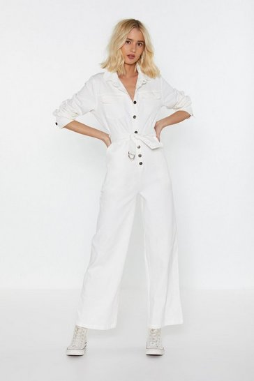 Womens White Button the Up Denim Boilersuit