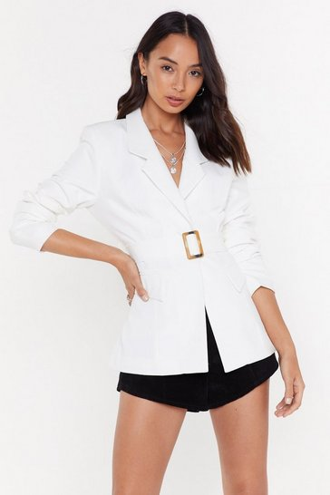 Womens White Belted Blazer
