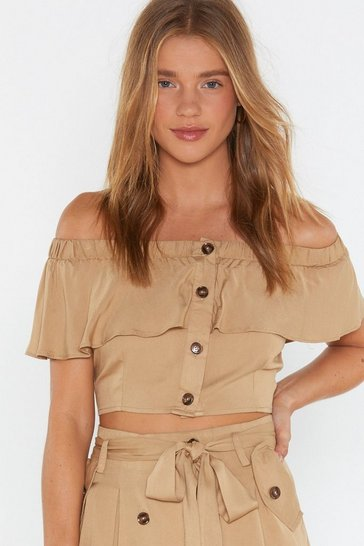 Womens Beige Button Front Off Shoulder Top