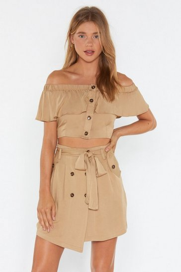 Beige Button Love You More Belted Mini Skirt