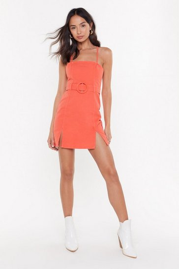 Womens Coral Waist Not Belted Denim Dress