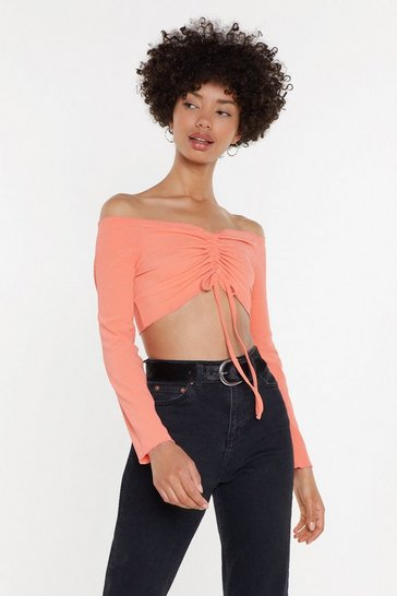 Womens Coral Crinkle Bardot Crop Top