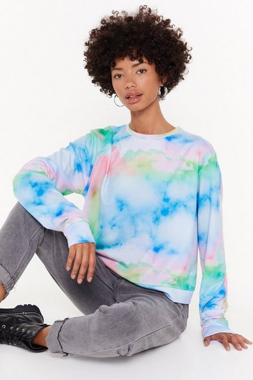 Womens White Out of This World Tie Dye Sweatshirt