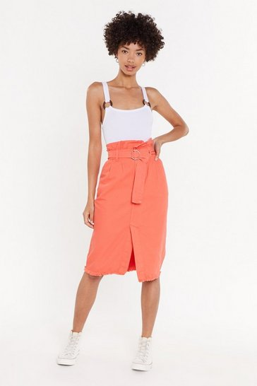 Womens Apricot Give Me a Call Paperbag Denim Midi Skirt