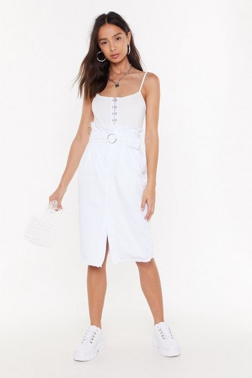 Womens White Give Me a Call Paperbag Denim Midi Skirt