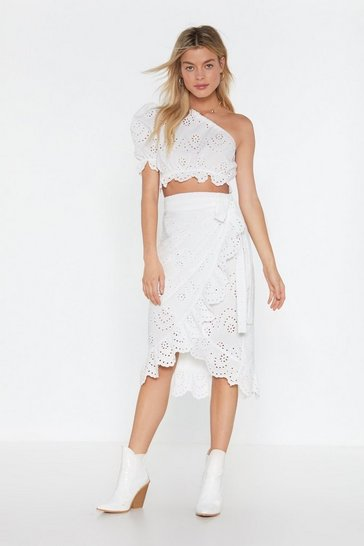 Womens White Let's Thread Out Broderie Wrap Skirt