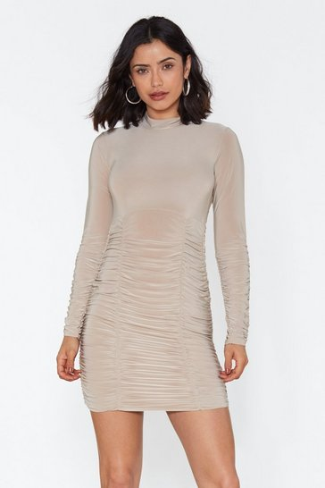 Womens Stone Slinky Ruched Bottom Mini Dress