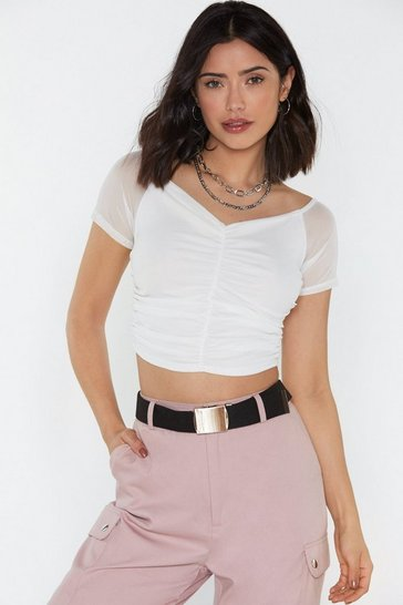 Womens Black Ruched Mesh Cropped Bardot Top
