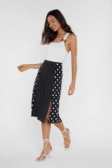 Womens Black Spotted Polka Dot Midi Skirt