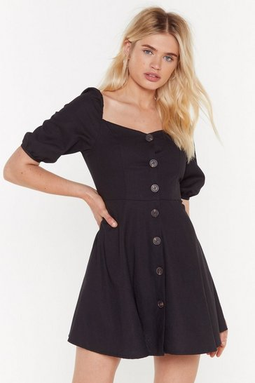 Womens Black What You Flaring At Button-Down Mini Dress