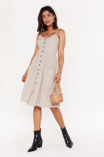 Womens Oyster Move It Button-Down Midi Dress