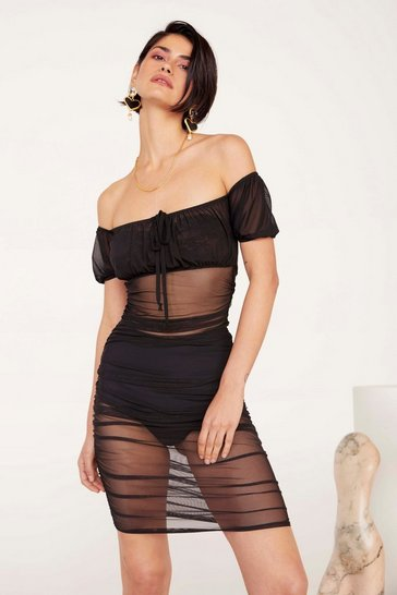 Womens Black Gather Your Things Mesh Dress