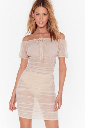 Womens Nude Gather Your Things Mesh Dress