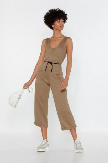 Womens Camel What's New With Utility Jumpsuit