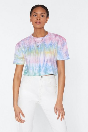 Womens Blue My Ride or Tie Dye Cropped Tee