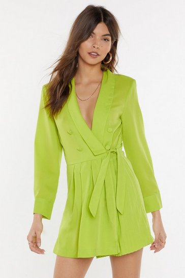 Womens Lime As You Pleat Blazer Romper
