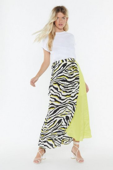 Womens Neon-yellow Ahead of the Pack Zebra Wrap Skirt