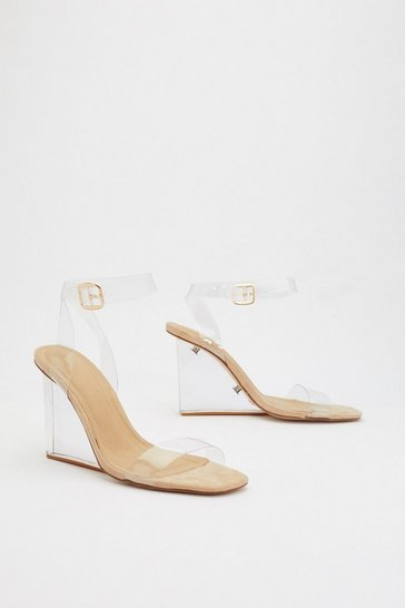 Nude Build Me Up Clear Wedge Heels