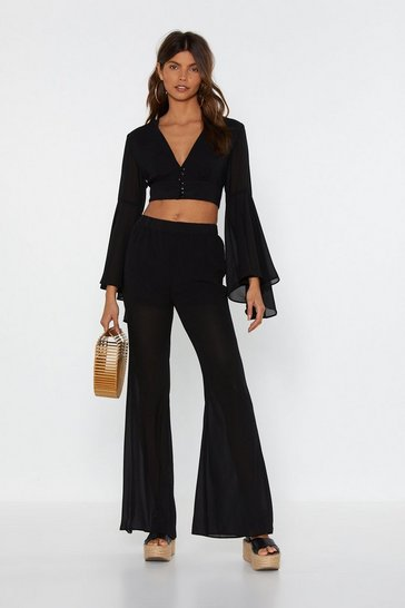 Womens Black Mesh Be Love Flare Trousers