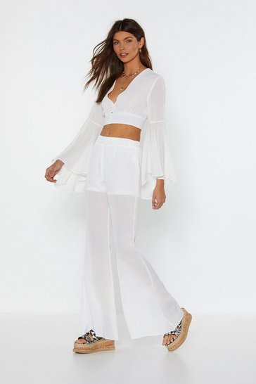 White Mesh Be Love Flare Pants