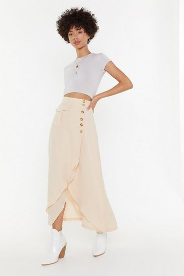Womens Beige Button Detail Split Midi Skirt