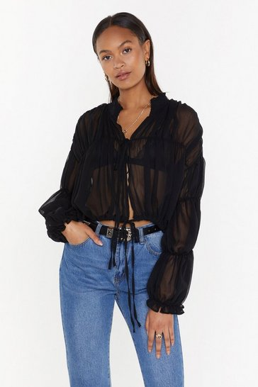 Womens Black Sheer for the Beer Ruched Blouse