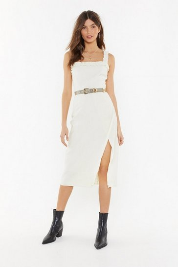 Womens Ivory Square Neck Ruffle Hem Midi Dress
