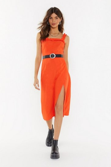 Womens Coral Square Neck Ruffle Hem Midi Dress