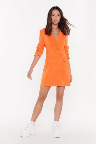 Womens Orange I'm Busy Blazer Dress