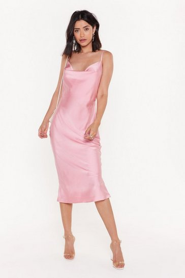 Rose Sleek Your Mind Cowl Satin Midi Dress